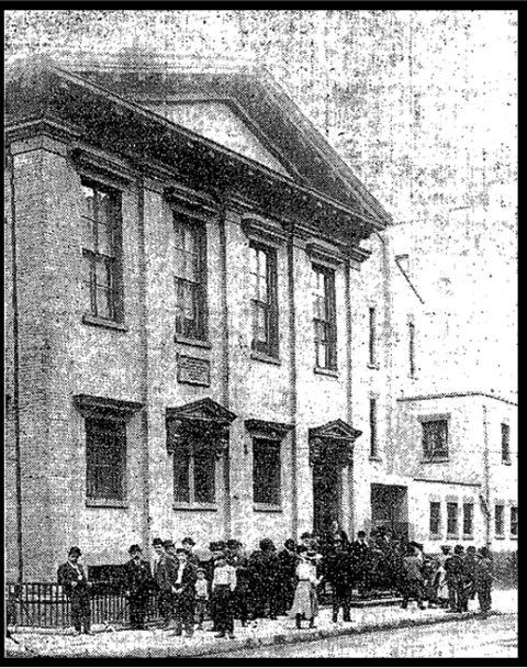 A typical scene outside the Essex Market Police Court in the early 1900s.