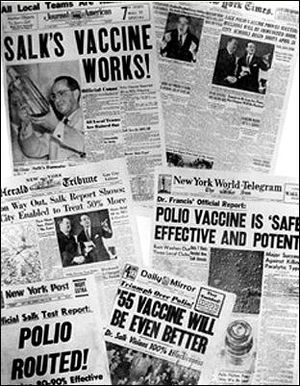 Newspaper headlines about the polio vaccine on April 13, 1955.