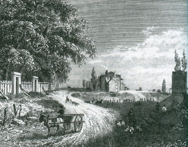 Laborers excavate Union Square south of 18th Street in 1832