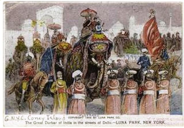 The great durbar of India in the streets of the Delhi-Luna Park, New York. (1904)