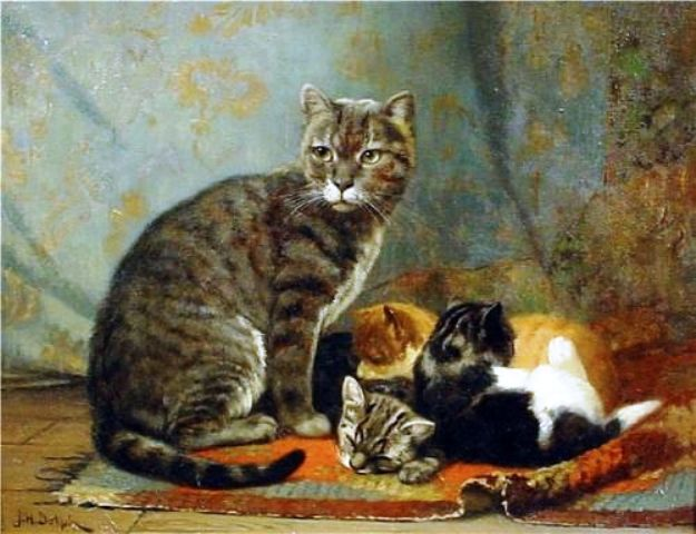 J.H. Dolph Mother with her Kittens