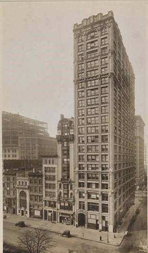 By 1915, when this photo was taken, Cafe Martin, which closed in 1913, had been replaced by a towering office building. Museum of the City of New York Collections