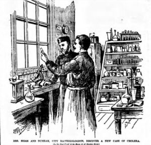 Dr. Briggs in his laboratory on the third floor of 42 Bleecker Street in 1892.