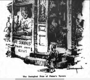 This illustration of a young boy sitting outside the open door of Fred Sauter's taxidermy shop at 42 Bleecker Street appeared in the New York Evening Post in August 1924.