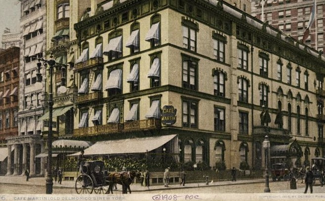 A colorized photo of Cafe Martin from 1908