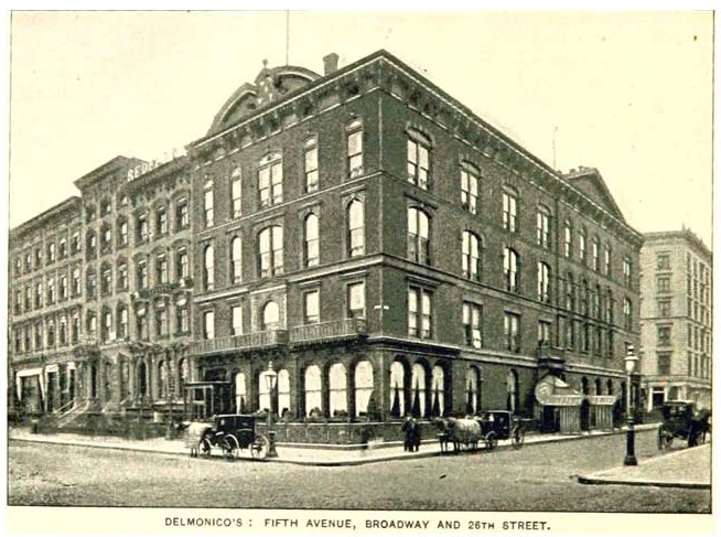 This photo of Delmonico's was published in the King's Handbook of New York City in 1892 -- two years before the brick and brownstone buildings to its left were demolished to make way for the new office building at 208 Fifth Avenue.