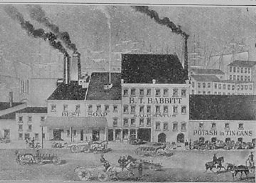 Here is an illustration of the B.T. Babbitt soap works factory as it appeared in 1859.
