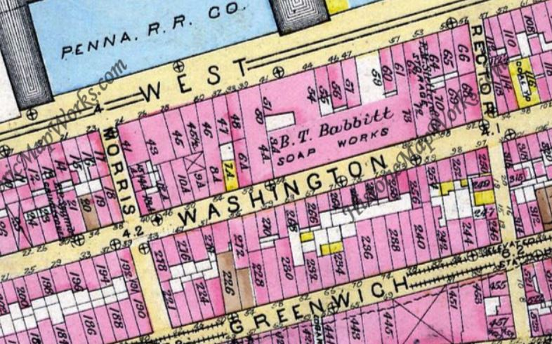 The B.T. Babbitt Soap Works is clearly marked on this 1885 map.