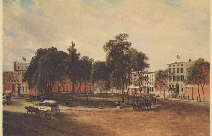 Bowling Green around 1860, about 10 years after the public was granted full access to the park. MCNY collections