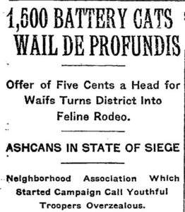 Bowling Green Cat Roundup, The New York Times, October 27, 1923
