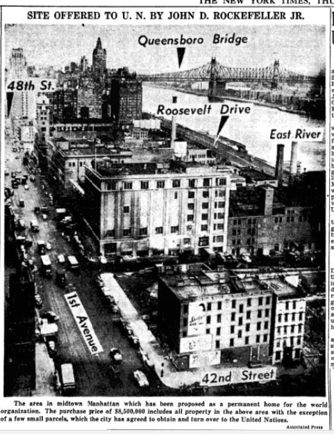 In 1946, an $8.5 million gift offer of almost six Manhattan blocks along the East River -- including the block where Tim and Tige lived -- was presented to the United Nations by John D. Rocklefeller, Jr. as a site for a permanent world capital.