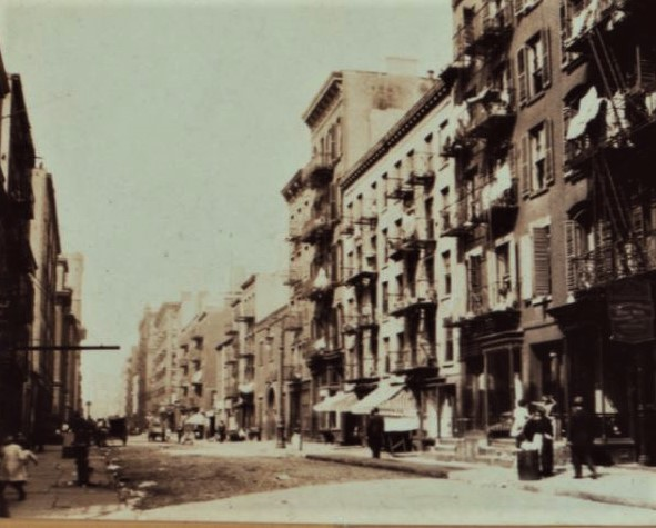 The new Bowling Green Neighborhood Association headquarters at 105-107 Washington Street replaced the two white-brick tenements pictured here in 1911. These buildings served as boarding houses for Irish immigrants and sailors in the 1860s and by Syrian immigrants in the 1890s.