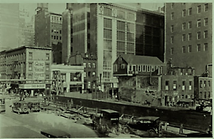 In 1927 when this photo was taken, construction on the subway and the new hotel were in progress. It was on this site that Abe's mother cat brought her kittens into the world. NYPL Digital Collections