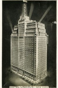 The hotel formerly opened on February following Lincoln Day excercises in the lobby. Governor Smith pressed a button at the executive offices in Albany which lighted a huge sign on the roof. He pushed the button at 5 p.m. The top of the sign was 425 feet above the street.