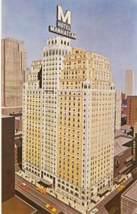 "In 1957, the large Hotel Lincoln sign was replaced by a giant ""M"" for the Hotel Manhattan."