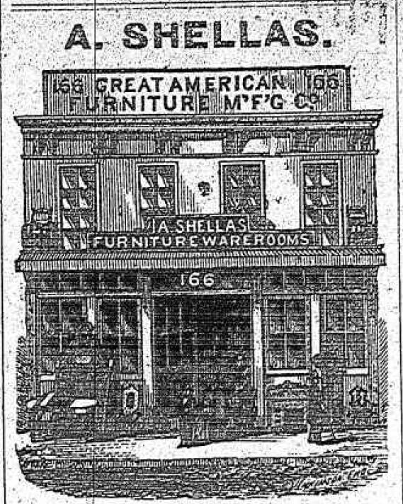 In 1878, 166 Grand Street was occupied by A. Shellas' furniture store. Prior to this date, the building was home to Mr. J.S. Beals, photographic artist (1860), and the American Tea Company (1868).