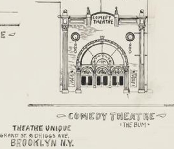 This illustration is all that's left of the original theater on Grand Street. This building was demolished in 1923.