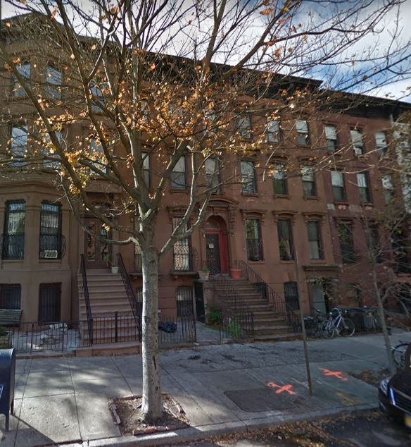 In the late 1800s, John Donovan lived at 144 St. Marks Avenue (left) and Thomas E. Wheeler lived at #138 (far right). All of the Neo-Grec style brownstones were designed by architect Marshall J. Morrill and constructed in the 1880s, at a time when speculative residential development in Prospect Heights increased in anticipation and reaction to the opening of the Brooklyn Bridge in 1883.
