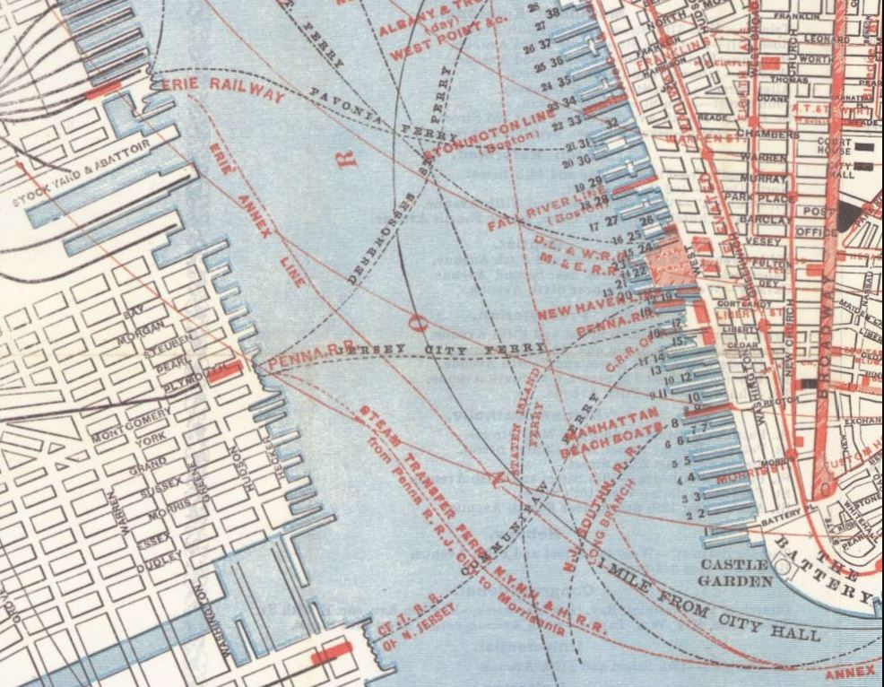 By the late 18th century, there were numerous ferry services from New Jersey to New York. Note the Pavonia line and the Erie Railway stock yards at the top of this 1878 ferry route map; at the bottom is the Communipaw Ferry, which was started by William Jansen in 1661 and was the first legally established ferry connection between the two states.