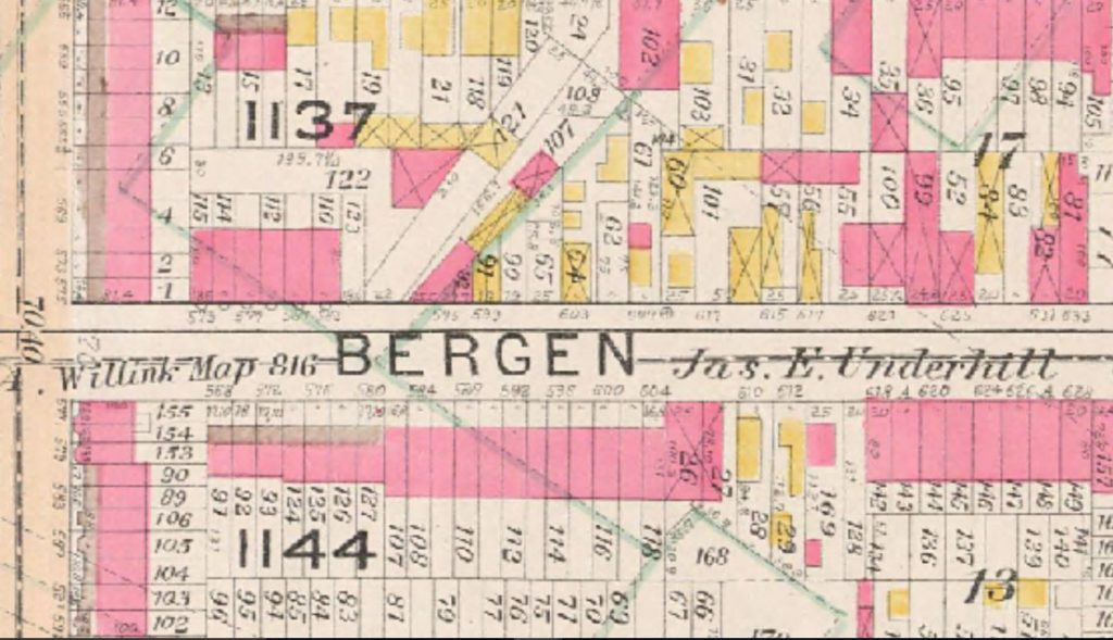 The Wheelers had a large stable with pastures at 603 Bergen Street, and later, at 617 Bergen Street. The original two-story frame stable at #603 caught fire in 1906, killing 35 horses and threatening the lives of the residents of the surrounding two-story frame houses at #601 (occupied by John Shea, a milkman) and #605 Bergen Street (occupied by John Smith, Henry King, and Philip and Marie Bradley).