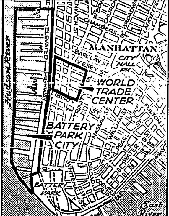The plans for Battery Park City and the World Trade Center in 1969.
