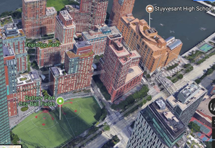 Today, the site where cows once trampled Policeman James Breen is occupied by Stuyvesant High School and the Battery Park City ball fields.