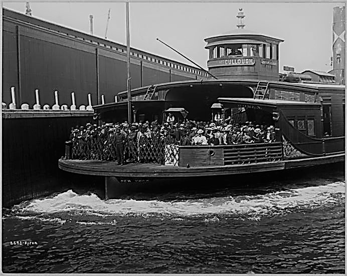 Passengers on a crowded Erie Railroad ferry boat to Pavonia in 1896.