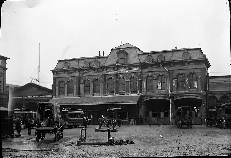 Here's another view of the Chambers Street Ferry Terminal in the late 19th century.