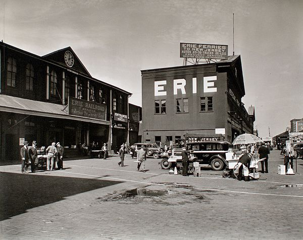 The Erie Railroad Pavonia Ferry at the Chambers Street Terminal in 1938.