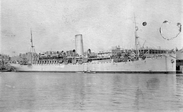 The SS Pastores was built in 1913 in Belfast, Ireland, for the United Fruit Company, an American corporation that traded in tropical fruit (primarily bananas), grown on Central and South American plantations. In May 1918 the Navy took her over from the United Fruit Company and placed her in commission as a troop transport for use in the war against Germany. Following the November 1918 Armistice, Pastores (which was registered as ID # 4540 at some point) took part in the great effort to return home the huge military force that had earlier been carried to France. The Colombia Steamship Company chartered the Pastores from the United Fruit Company in 1932 for passenger service between New York, Haiti, Jamaica, Colombia, and Panama.