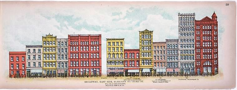 Snooperkatz made his home in Christian Gudebrod's offices at 644 Broadway (on the far right in this 1899 illustration), an eight-story orange sandstone and brick building designed by Stephen Decatur Hatch in 1891 for the Manhattan Savings Institution.