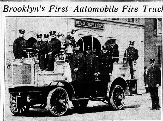 The men of Engine Company No. 103 took possession of Brooklyn's first motorized apparatus in 1912.
