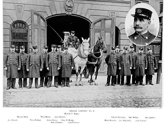 Here are the men and horses of Engine Company No. 3 in front of their firehouse at 533 Hicks Street. Note the rooster above the doorway.
