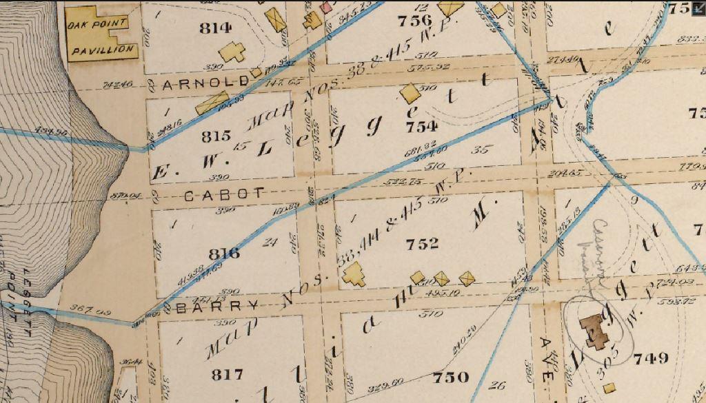 The old Whitlock/Casanova mansion is noted on the 1887 Oak Point map.