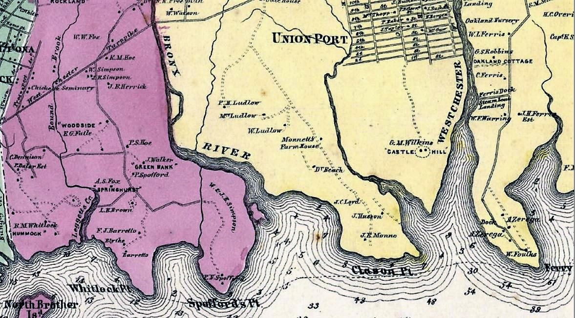 On this 1867 map, Oak Point was still called Whitlock Point (purple section) in honor of Benjamin Whitlock.