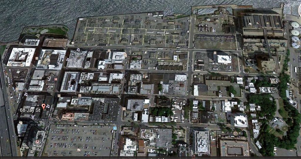 what was once the property of Comfort and Joshua Sands. The old Grand Union Tea Company building is at the bottom left. Google Earth
