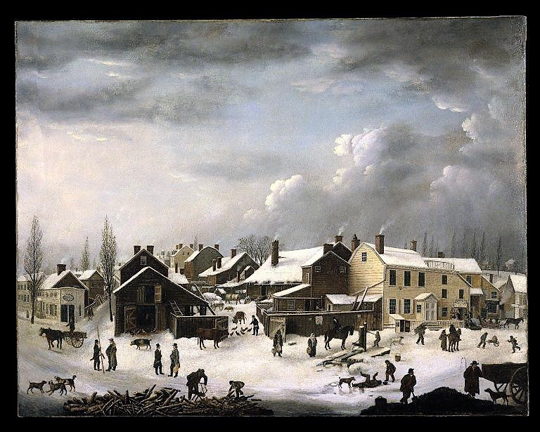 This Francis Guy illustration looks like a Currier & Ives Christmas card, but it's actually Brooklyn's Front Street in 1820, just 75 years before the Jones brothers started constructing their Grand Union Tea Company. Brooklyn Museum