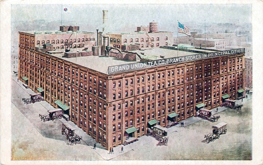 Bob the cat made his home in the Grand Union Tea Company building from about 1900 to 1900. The block-long, block-wide complex was bounded by Jay, Pearl, Front, and Water Streets, on what was once the farmland of Comfort and Joshua Sands.