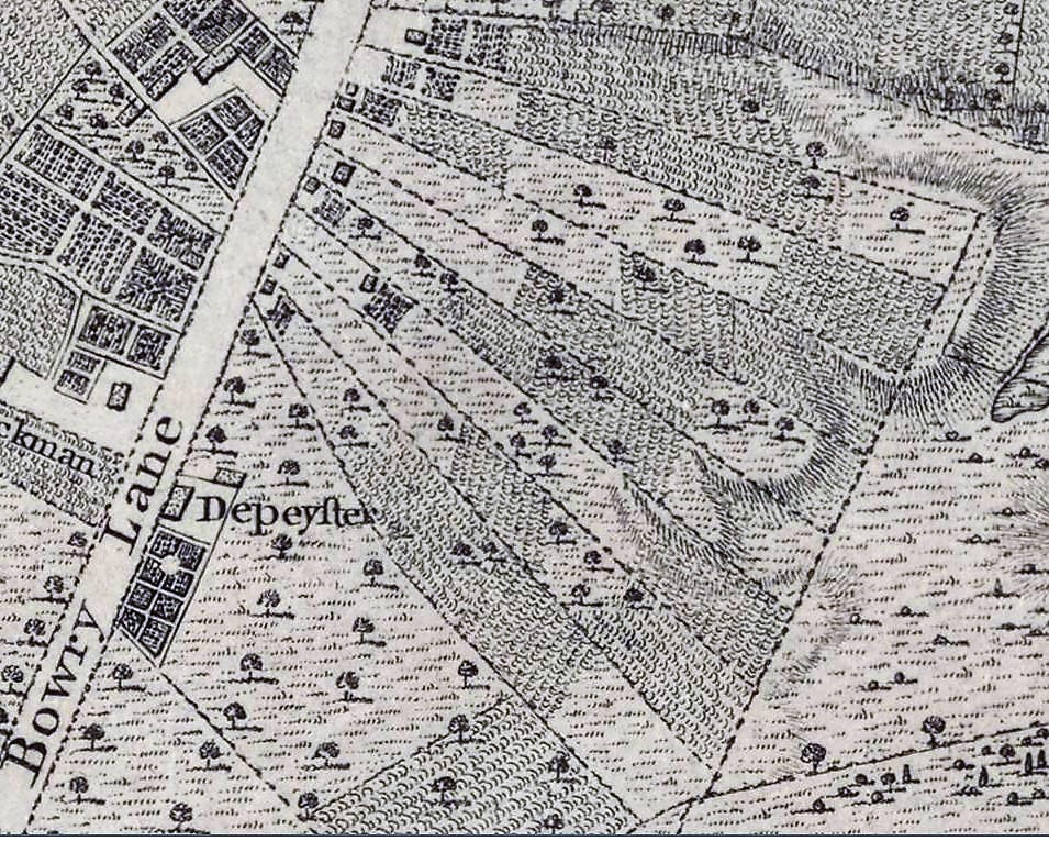 The Minthorne property occupied all of the fan-like sections just west of The Bowery, as shown on this 1767 Ratzer Map of New York City.