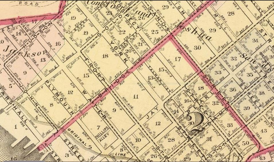 The old Sands farm is noted on this 1874 Brooklyn map.