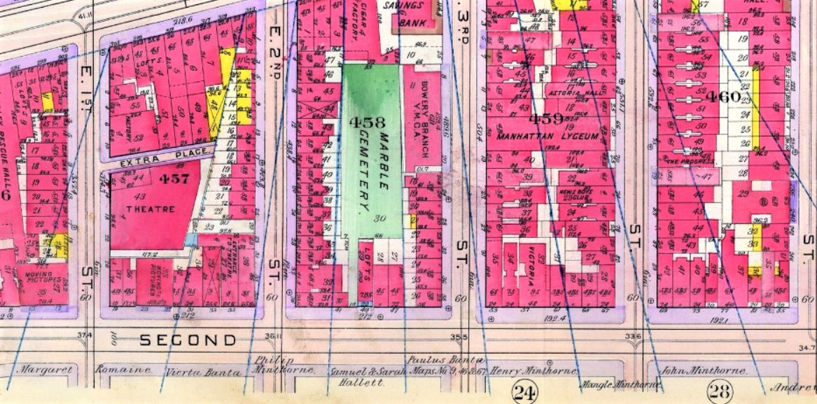 The fan-like pattern of the old Minthorne estate is still visible on this 1909 tax map. 27 Second Avenue, where Speck the cat saved the day, was erected on the land once owned by Margaret Minthorne and her husband Nicholas Romaine.
