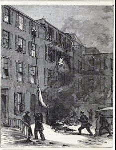 A tenement fire on Second Avenue is depicted in this 1869 image. New York Public Library Digital Collections