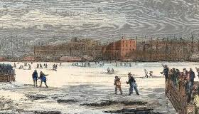 The East River froze over several times in the 1800s, allowing people to cross between Manhattan and Brooklyn on foot.