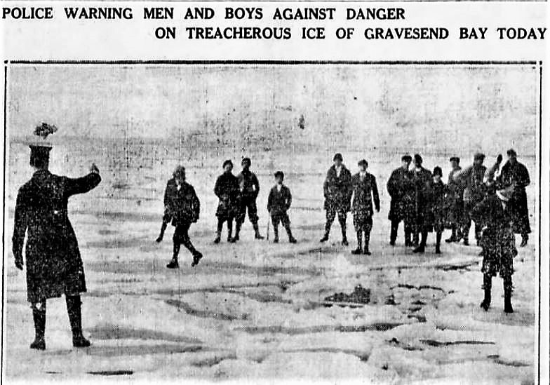 In February 1912, ice filled the Gravesend Bay and the Narrows, making it possible for people to cross the bay to Norton's Point on Coney Island. It was the first time since the great blizzard of 1888 that the waters completely froze.
